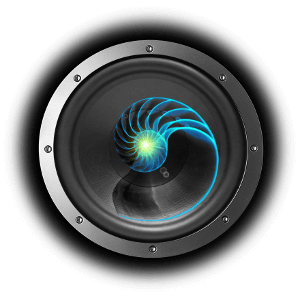 Colourful nautilus superimposed over subwoofer graphic